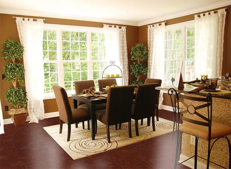 mahogany ripple forna cork flooring floating dinning room
