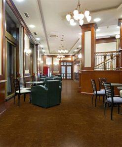 mahogany ripple forna cork flooring in hotel lobby