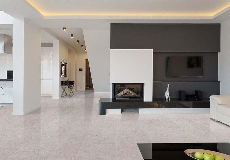 marble cork flooring huge living room white black furnature