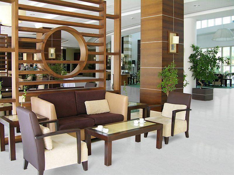 modern hotel lobby white leather forna cork floor