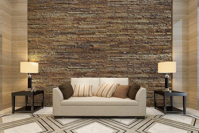 narrow bricks cork wall panels green livingroom soundproofing
