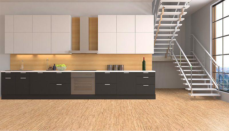 natural cork flooring silver birch modern kitchen