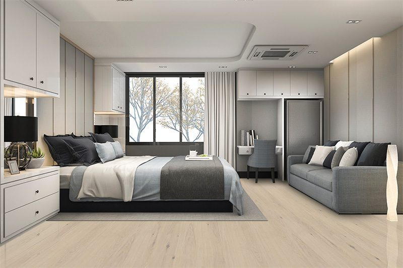 oak creme cork flooring luxury bedroom