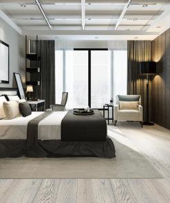 overcast engineered hardwood flooring fossil grey clour modern bedroom design 2020 trend