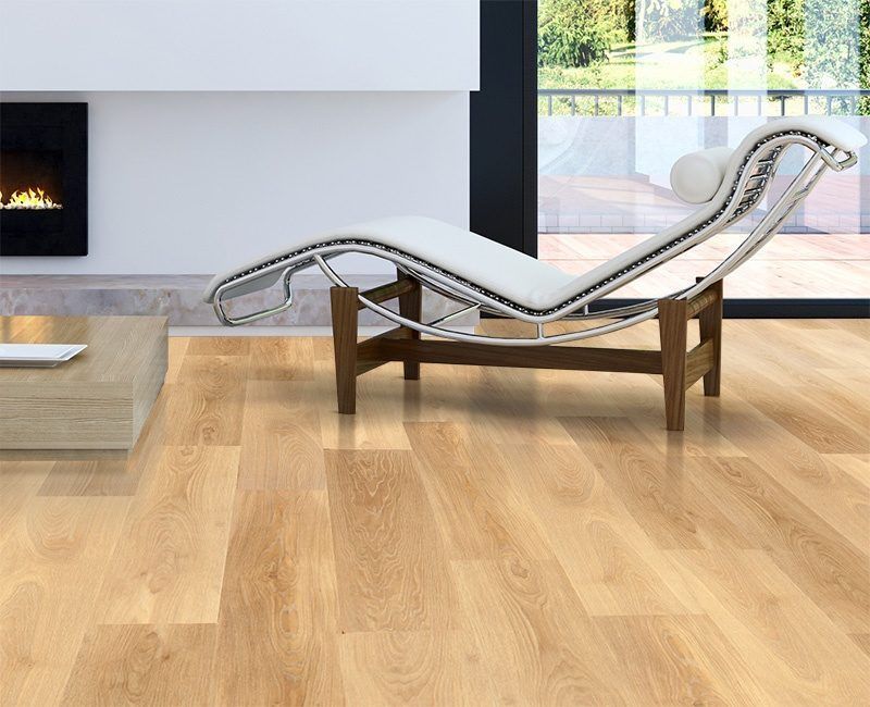 pine wood fusion cork floating flooring living room corner with chair and two windows