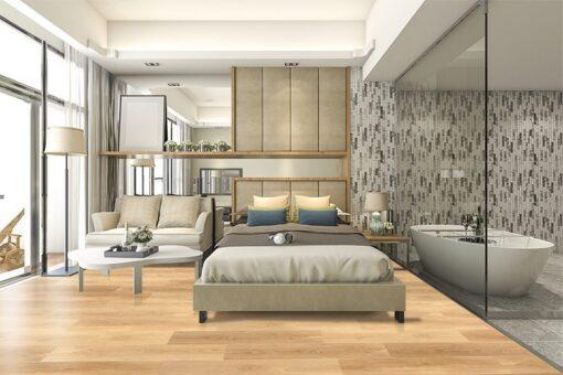 pine wood fusion cork floating flooring luxury suite hotel bedroom with bathtub