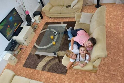 ripple beveled cork floor happy young family living room bright modern