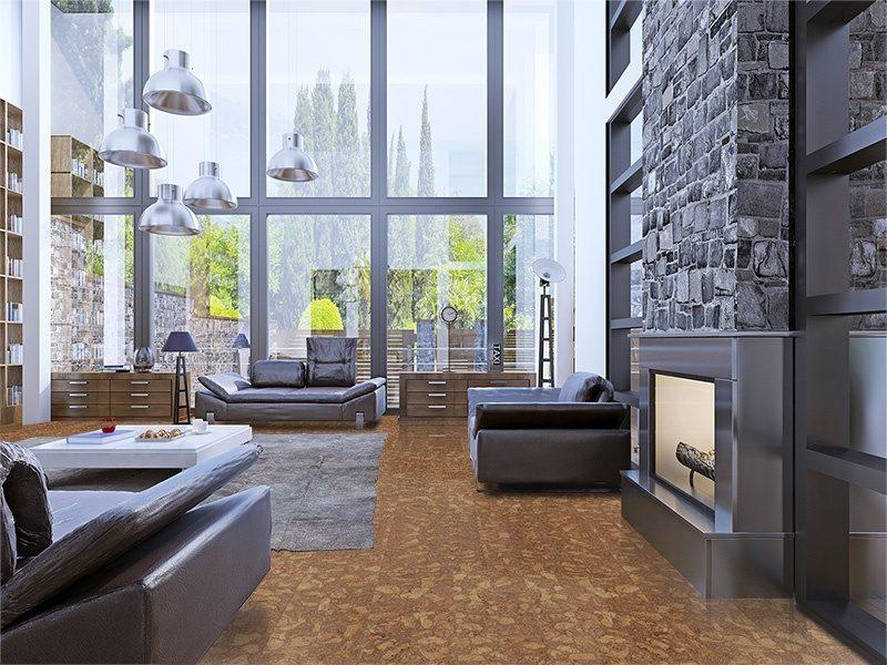 rocky bush beveled edges cork floor loft apartment interior design panoramic window