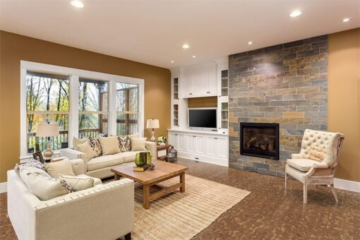 rocky bush beveled edges cork floors beautiful living room interior