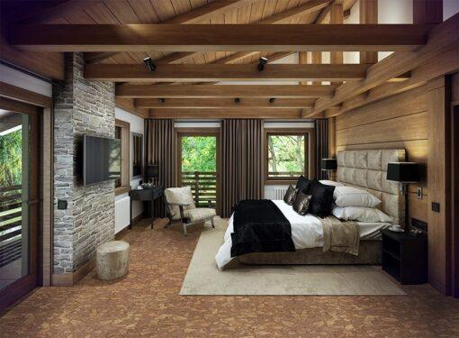 rocky bush cork floor cozy bedroom iattic chalet huge bed interior decorated wood natural materials.