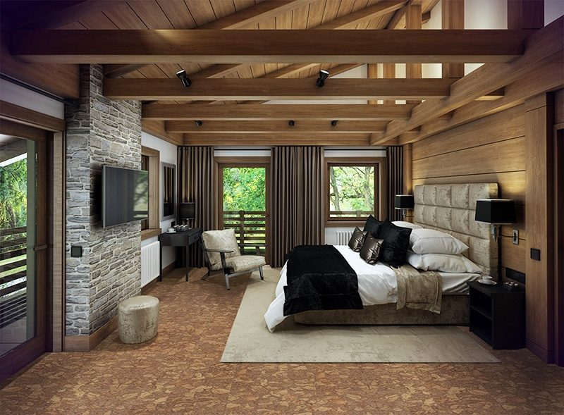 rocky bush cork floor cozy bedroom iattic chalet huge bed interior decorated wood natural materials.