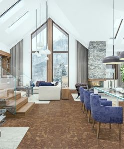 rocky bush cork floor living room kitchen dining room stair combined chalet interior decorated wood natural materials