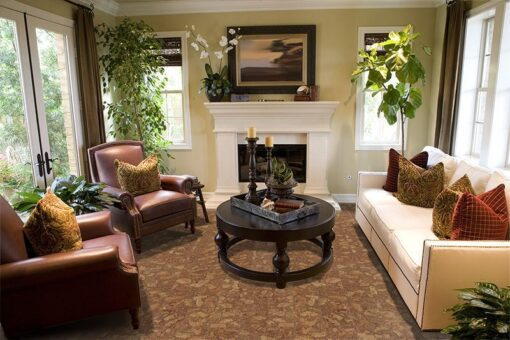 rocky bush cork flooring narrow planks cozy living room fireplace