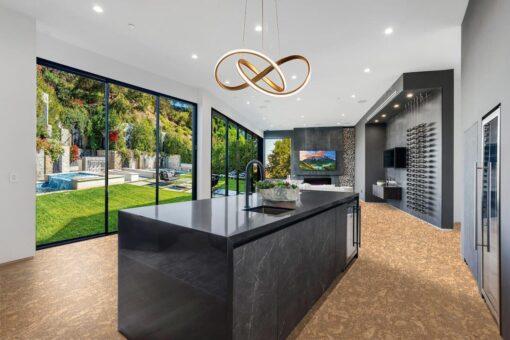 rococo cork flooring in kitchen wine cellar black gray design