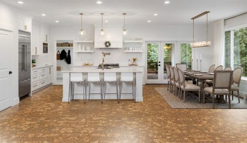 rococo forna cork flooring in beautiful panorama of white kitchen dining room in new luxury home dining room