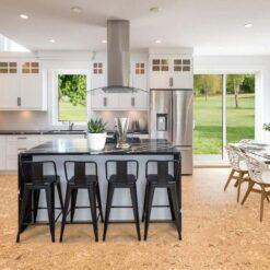 salami cork floor modern kitchen interior natural wood colour