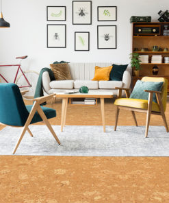 salami cork floor stylish vintage furniture in spacious flat interior with beige sofa, chairs and posters on the wall