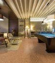 salami forna cork floor interior luxury basement living room pool table