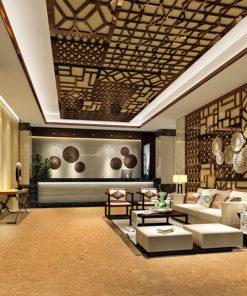 salami forna cork tiles in a modern luxury hotel entrance lobby