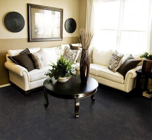 shadow black cork flooring living room area