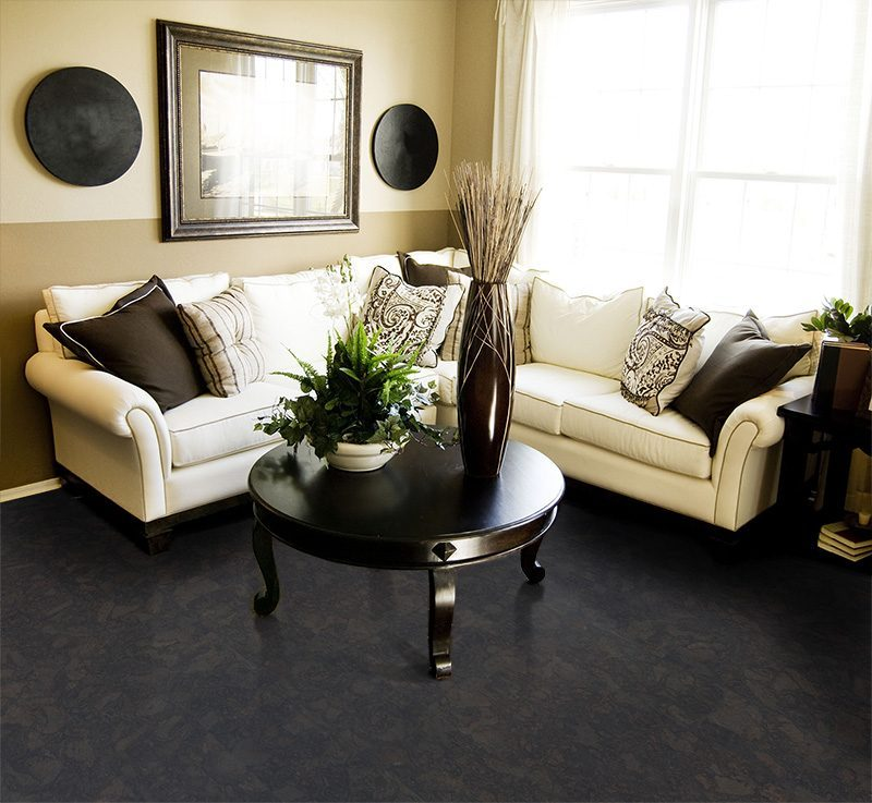 shadow black cork flooring living room area