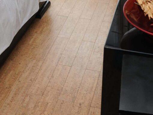 silver birch beveled edged cork floating floor bedroom