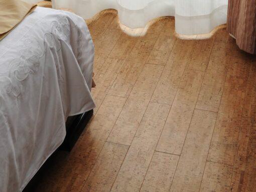 silver birch beveled edged cork floating flooring bedroom