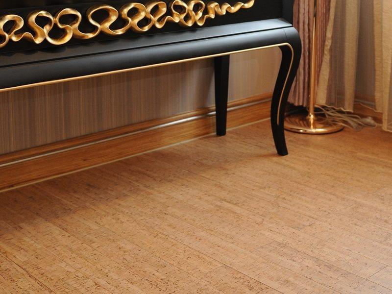 silver birch beveled edged cork floating flooring
