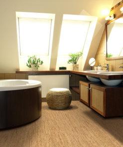silver birch cork floor interior luxurious bathroom attic