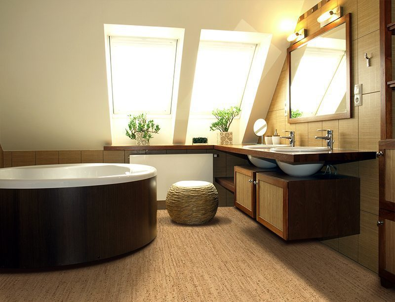 silver birch cork floor interior luxurious bathroom attic