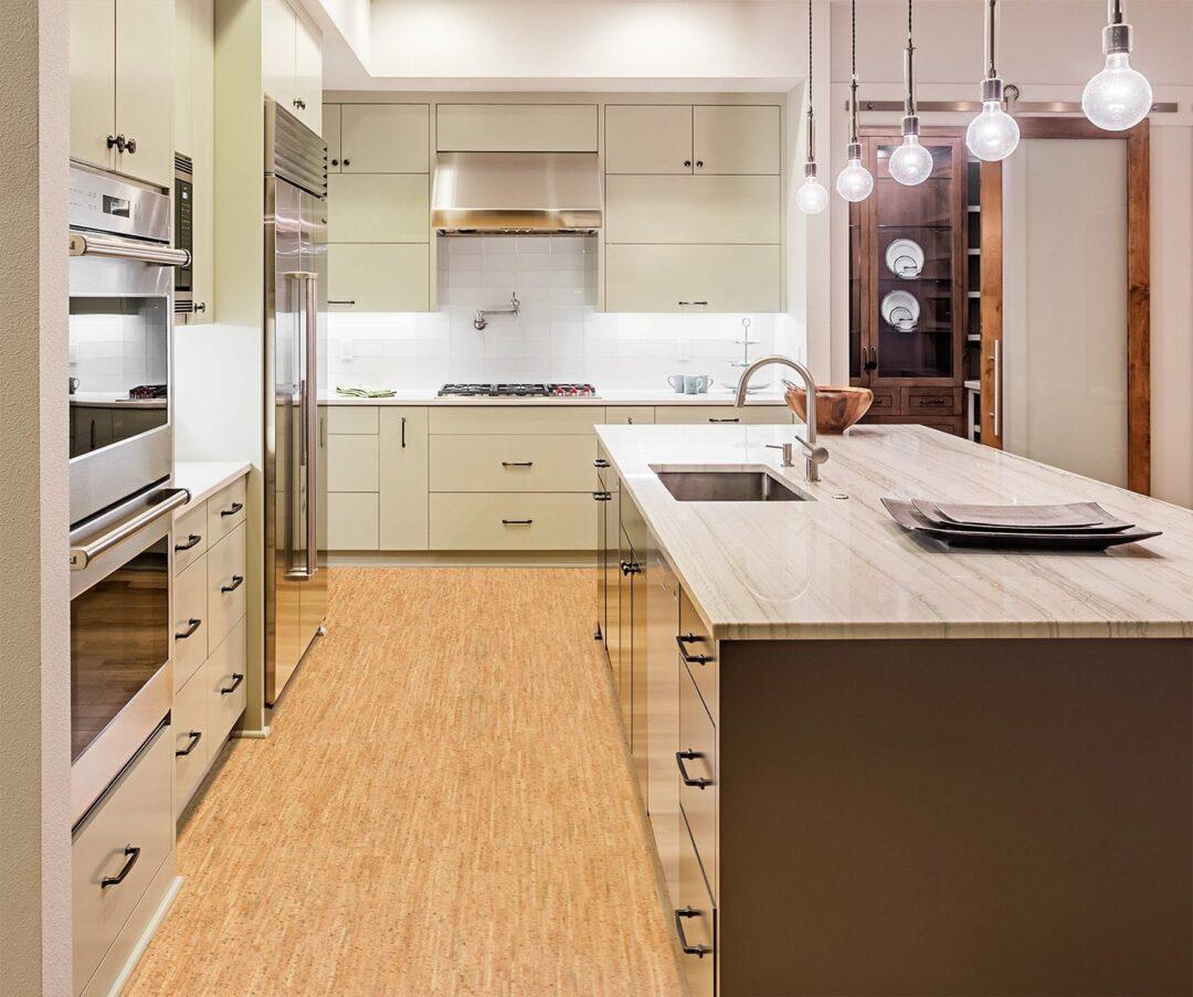 silver birch cork floor kitchen modern island cabinets