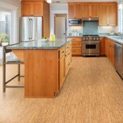 silver birch forna cork floor custom designed wooden kitchen with gorgeous granite counter