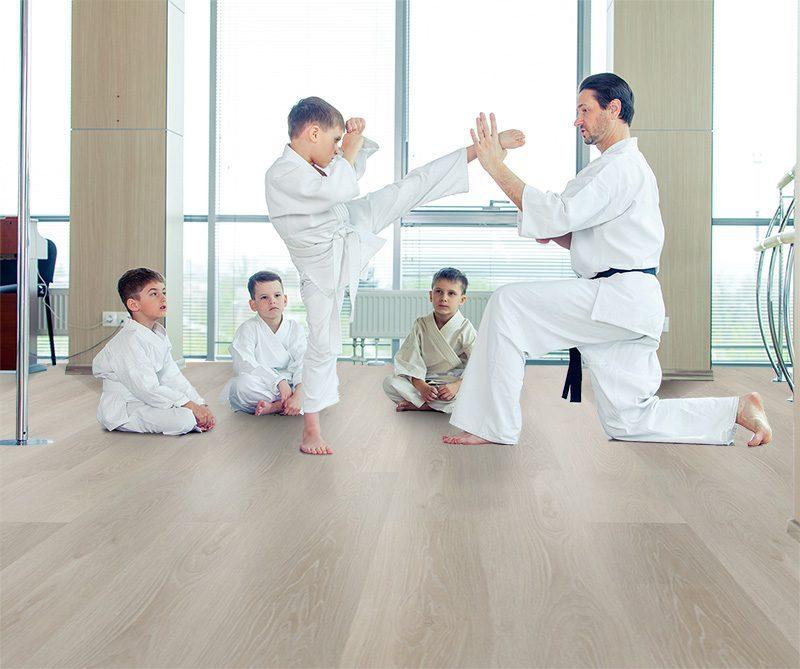 silver pine cork flooring forna fusion karate dojo training room