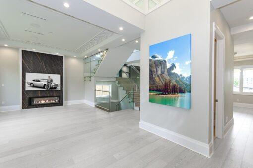 silver pine cork flooring fusion living room wall design