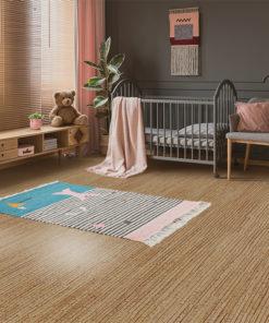 sisal cork floor child room interior baby crib standing cupboard armchair lamp stool grey walls molding