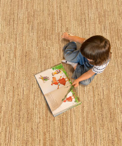 sisal cork floor girl reading book at kindergarten
