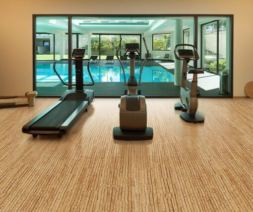 sisal forna cork flooring interior gym of a modern house with spa