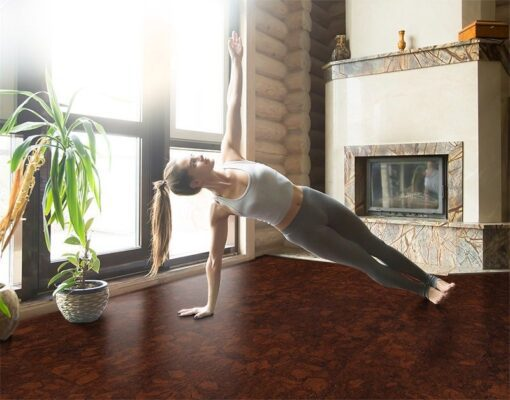 sunny ripple best yoga floor cork young woman practicing yoga near fireplace