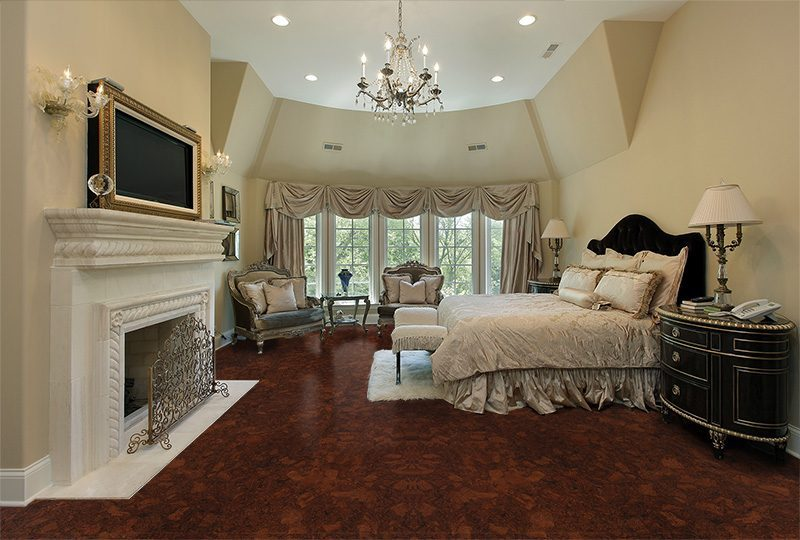 sunny ripple cork floors luxury home fireplace master bedroom