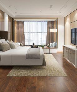 sunset engineered hardwood flooring bedroom hotel cinnamon brown colour interior design