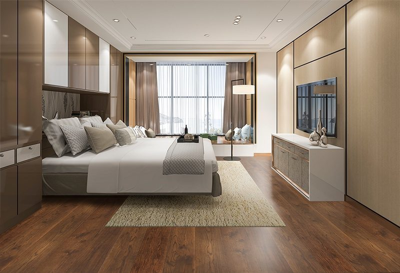sunset engineered hardwood flooring bedroom hotel cinnamon brown colour interior design