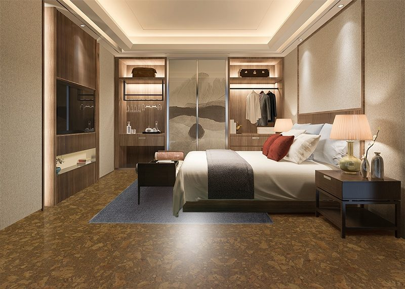tasmanian burl forna cork floor eco friendly floor bedroom walk in closet