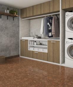 tasmanian burl forna cork floor laundry room with concrete wall