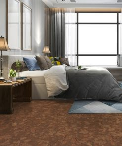 tasmanian burl forna cork floor luxury modern bedroom suite in hotel with wardrobe