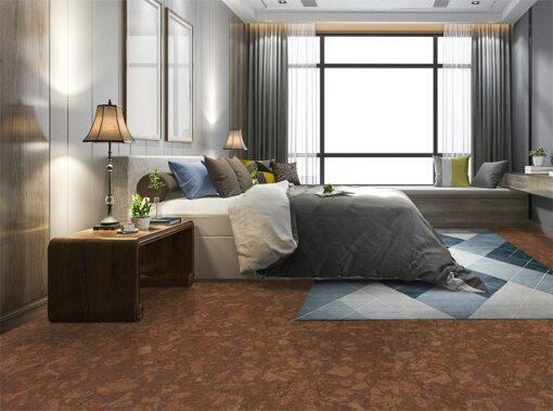 tasmanian burl forna cork floor luxury modern bedroom suite in hotel with wardrobe
