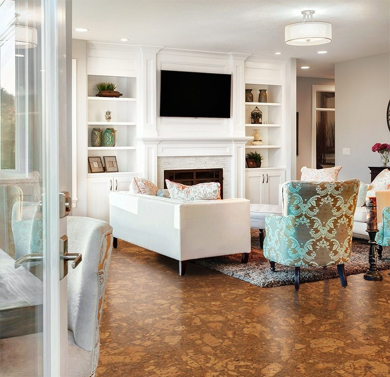 tasmanian burl forna cork floors foyer in luxury home with cherry colour