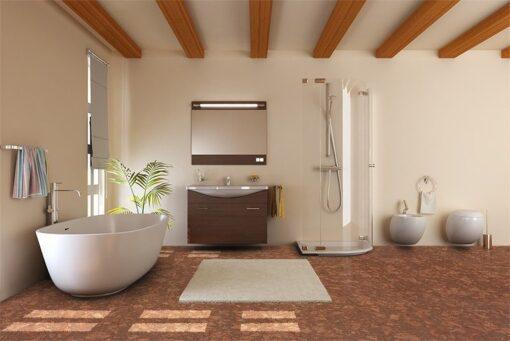 tasmanian burl forna cork floors modern bathroom bathtub toilet