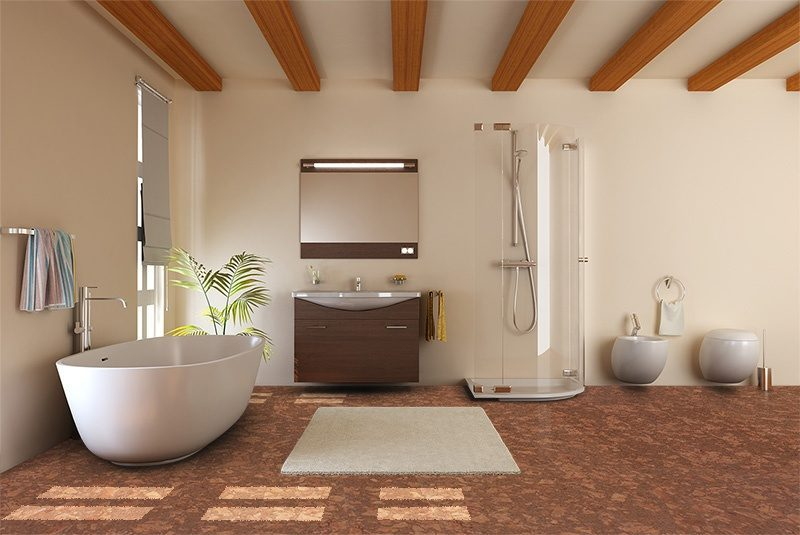 Tasmanian Burl Forna Cork Floors Modern Bathroom Bathtub Toilet