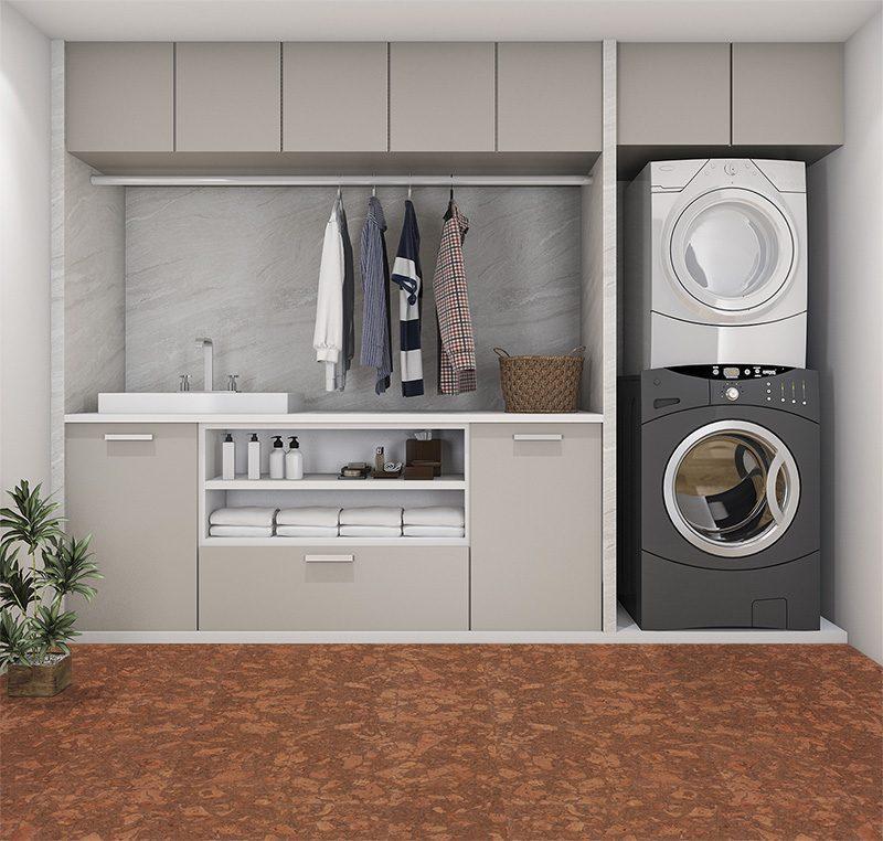 tasmanian burl forna cork floors modern laundry room