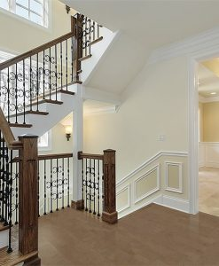 taupe leather cork floor luxury foyer new construction flooring